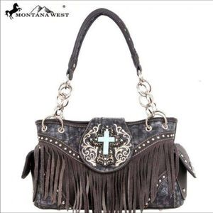 Handbags - Beautiful grey purse with turquoise cross & fringe